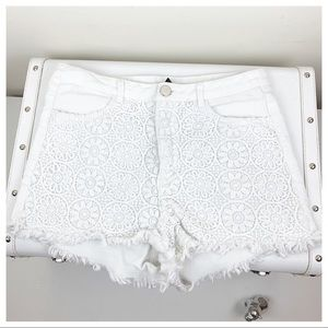 Divided White Lace Jean Shorts Sz 8.